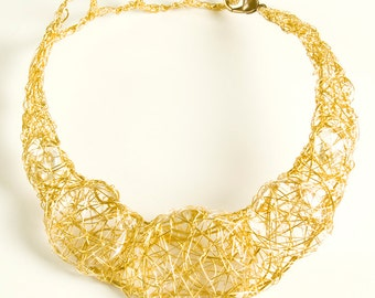 Gold Wire Free Form Necklace