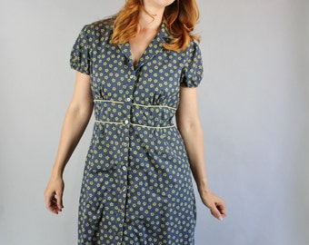 Vintage 90s does 40s Women's Blue Green Floral Print Summer Cotton Country Shirtdress