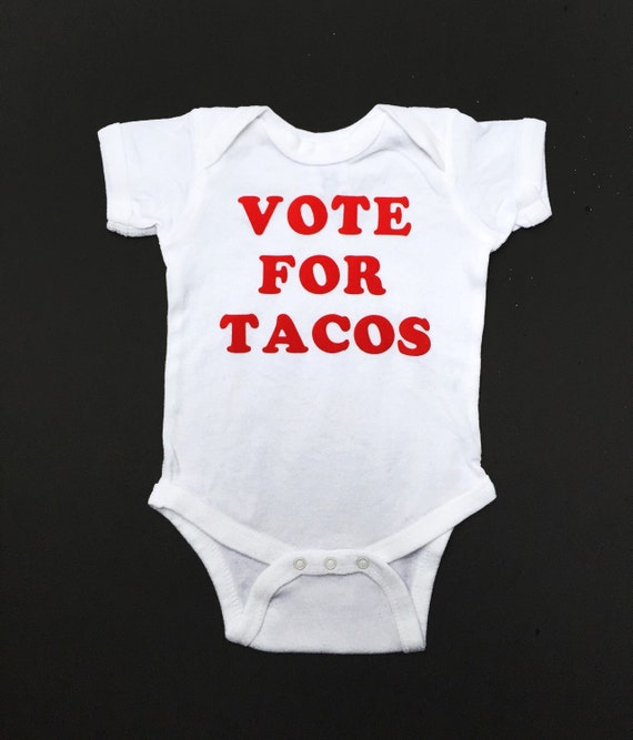 Cinco De Mayo, Baby Clothes, Taco Bodysuit, Funny Baby Grow, Baby Boy Clothes, Vote for Tacos, Baby Costume, Baby Girl Clothes