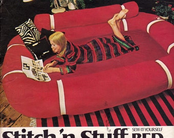 Butterick Stitch 'n Stuff Bed Pattern 0103, Bed Sewing Pattern Consists of Ring, Bolster, and Mattress Cover for Twin or Double Size, Uncut