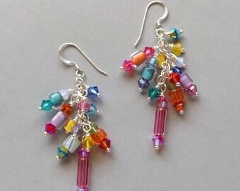 Multicolor Furnace Glass,Austrian Crystal, Art Glass, Cane Glass, Bead Cluster Dangle Earrings Set 1