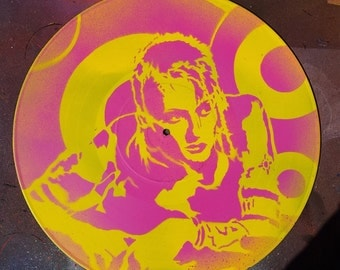 SALE Free US Shipping Lori Petty Tank Girl movie fan art upcycled vinyl record painting street art spray paint original stencil feminist art