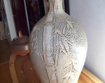 "19"" Richey Bellinger ~ Hand Thrown, Incised, Bamboo Decorated Textured Floor Urn / Vessel, Oregon Potter"