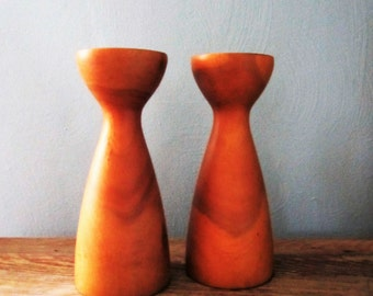 Danish Modern Teak Pillar Candle Holder