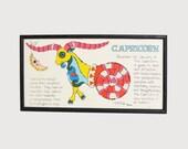 Vintage 60s MOD Capricorn Zodiac Silk Screened Wall Hanging by Margot Johnson