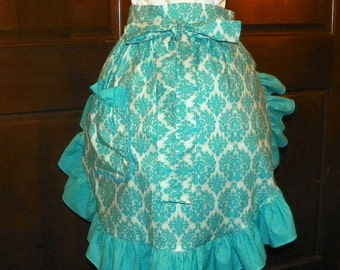 Fun, Flirty, Sassy Hostess 24 In Damask on Blue  by Nanasaprons Handmade for Fun Cooking Baking