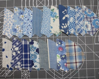 Vintage Blue Fabric- 1900-1930- Percale and Feedsack -Tiny Calico Floral- Gingham- Quilting Pieces - Fan/Pinwheel - 74 Pieces