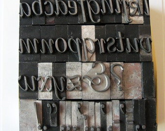 Vintage Metal Letterpress Type XL Italic Lowercase 46 Piece Complete A to Z