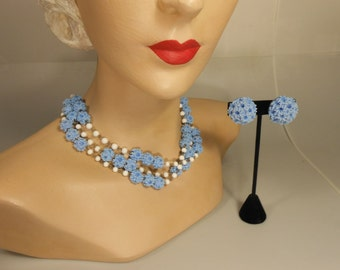 Hyacinthes in the Garden - 1950s Hyacinth Blue Celluloid Popcorn Bead 2 Strand Necklace & Earring Set