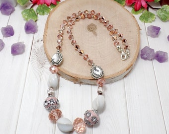 Rose Boho Chic Necklace - Rose Pink Necklace - OOAK - Statement Necklace