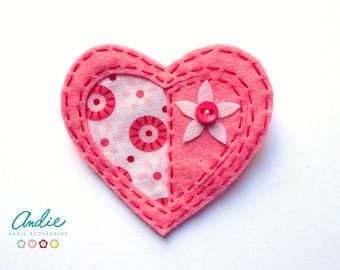 Felt heart brooch - Pink felt heart brooch - Felt and fabric brooch - Pink Brooch - Heart brooch