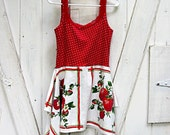 Upcycled sleeveless tunic, upcycled summer dress, tank top dress, festival top, red strawberries, lagenlook, size XS, by Lily Whitepad