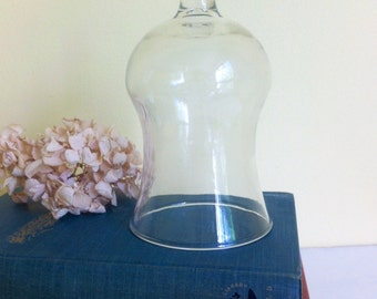 Vintage Small Glass Cloche, Bell Jar, Glass Display, Two Available