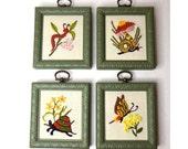 Embroidery Wall Art Set of 4, Framed, Mushroom / Butterfly / Caterpillar / Turtle Needlework, Green Frames, Small