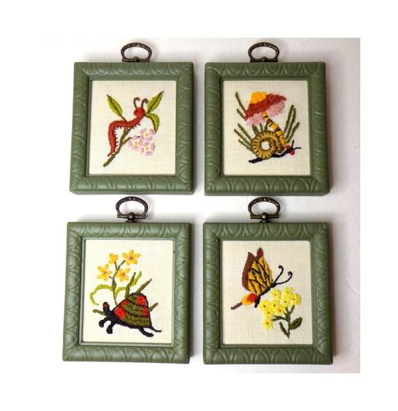 Vintage Embroidery Wall Art Set Of 4 Framed Mushroom