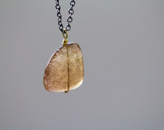 Tourmaline Necklace in Sterling Silver and 18K Solid Gold, Tourmaline Slice, Raw Tourmaline, October Birthstone - Origins