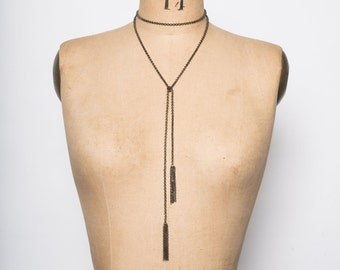 Long Tassel Lariat Wrap Necklace Convertible Necklace Choker Belly Chain