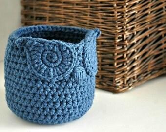 Small Blue Owl Basket Crocheted Bin Yarn Holder Woodland Nursery Decor Home Organizer Custom Colors