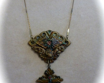 Vintage Style Ornate Assemblage Pendant Necklace with Cross