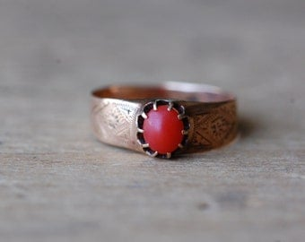 Antique Victorian hallmarked Austro-Hungarian gold and coral dress ring