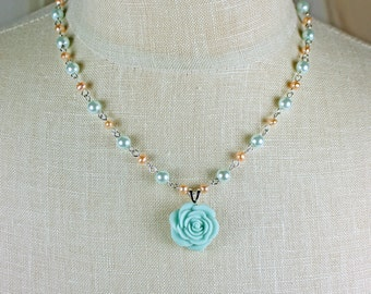 Mint Green and Peach Necklace - Flower Necklace - Pastel Necklace - Spring Necklace - Summer Necklace - Rose Necklace