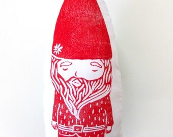 Gnome Shaped Pillow.  Hand Woodblock Printed. Choose Any Color. Made to Order. 1-2 weeks.