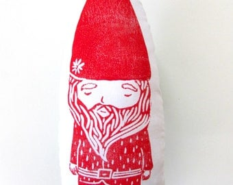 Plush Gnome Pillow. Hand Woodblock Printed. Choose Any Color. Made to Order. 1-2 weeks.