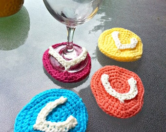 Flip-flop Wine Glass Coaster, Beach Themed Coasters, Set of 4 Stemware Protectors, Summer Party Decor