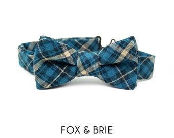 Ocean Plaid Kids Bow Tie