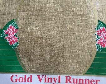 """Vintage Gold Vinyl Plastic Runner, Flannel Back, 13"""" x 72"""" Unused in Original Package, Christmas Table Topper, Weddings"""