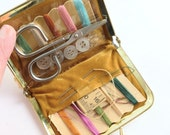 Kiss Lock Sewing Kit Purse Travel Accessory Gold Lame with Sewing Notions