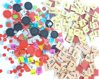 Board Game Pieces Parts Mixed Lot Letter and Word Sentence Tiles, Clue, Checkers, Bingo Arts Crafts Collage Mixed Media Supplies