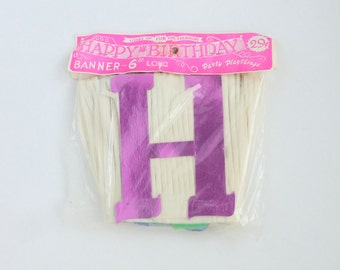 HAPPY BIRTHDAY Banner White Crepe Paper Fringe and Colorful Foil Letters