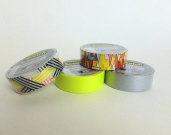 Washi Tape Lot Scotch Expressions 3M Colorful Triangles, Geometric Stripes, Silver, Bright Yellow Green