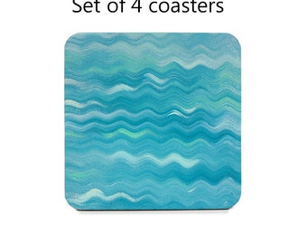 Turquoise coaster set, abstract drink coasters, set of 4, aqua, blue, pastel table coasters, cork back coasters, table decor, hostess gift