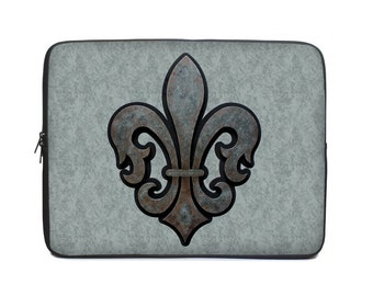 Fleur de lis Laptop Cover, gray laptop case, laptop sleeve, to fit 10, 13, 15, 17 inch, computer sleeve, netbook case, tablet case