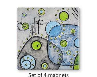 Abstract art magnets, refrigerator magnets, fridge magnet set, set of 4 decorative magnets, kitchen decor, mid century modern