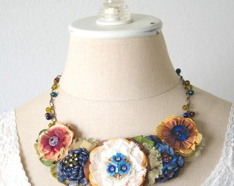 Colorful Floral Bib Necklace, Fabric Flower Necklace, Statement Necklace, Unique Gift for Mom, Gift for Friend, Textile Jewelry