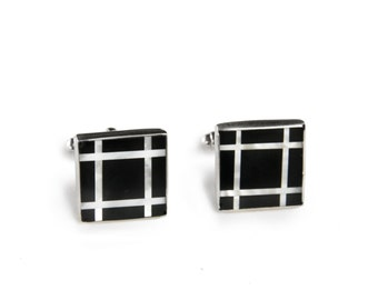 Grid Black Onyx and Mother of Pearl Sterling Silver Cufflinks