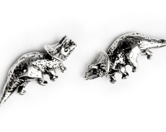 Triceratops Sterling Silver Post Earrings