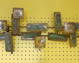 Brutalist Wall Sculpture / Brass Wall Art