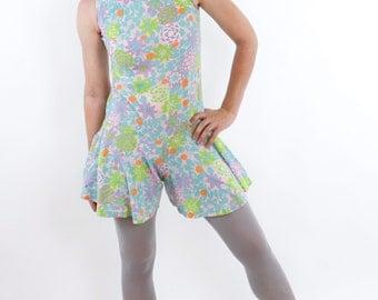 Vintage 60's lightweight cotton romper, sleeveless, roomy legs, mini length, pastel floral pattern, mod / funky / cute - Small