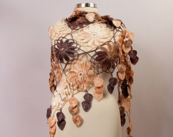 Crochet Shawl, Flower Shawl, Crochet Wrap, Lace Shawl, Multicolor Crochet Triangle Scarf, Winter Wedding Shawl, Fall Colors Gift For Women