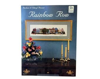 Vintage Rainbow Row Cross Stitch Pattern, Historical District of Charleston South Carolina, Dated 1987, Barbara & Cheryl, Cross Stitch Chart