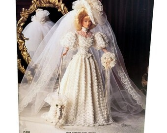Vintage Crochet Fashion Doll Wedding Gown Pattern Includes Gown Hat Veil Parasol Shoes Bouquet Gibson Girl Bride Paradise Crochet Collector