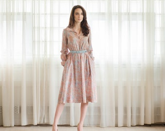 Vintage 1970s Silk Dress - 70s Paisley Dress - Kade Silk Dress