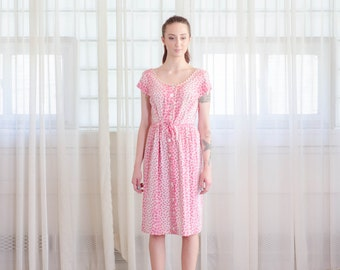 Vintage 1960s Floral Dress - Pink 60s Dress - El Sole Dress