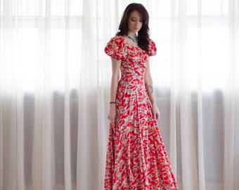 30s Novelty Print Gown - 1930s Maxi Dress - Babe Didrikson Dress