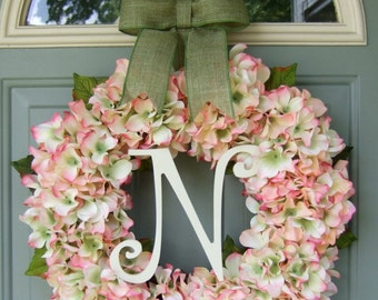 Summer Wreath - Spring Hydrangea Wreath - Summer Monogram Hydrangea Door Wreath