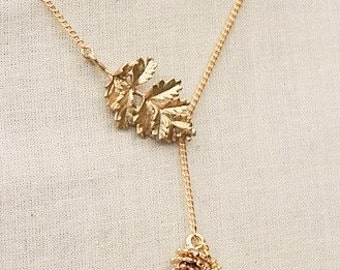 Handmade Lariat Necklace Leaf Necklace Leaf Lariat Necklace Leaf Pearl Necklace Leaf Pearl Lariat Gold Leaf Lariat Leaf Pine Cone Necklace
